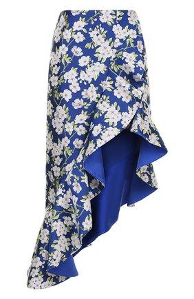 Юбка асимметричного кроя с оборками и принтом Alice + Olivia синяя   Фото №1