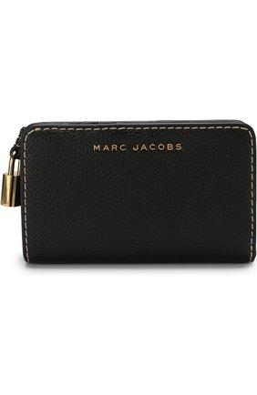 Кожаный кошелек с логотипом бренда Marc Jacobs черного цвета | Фото №1
