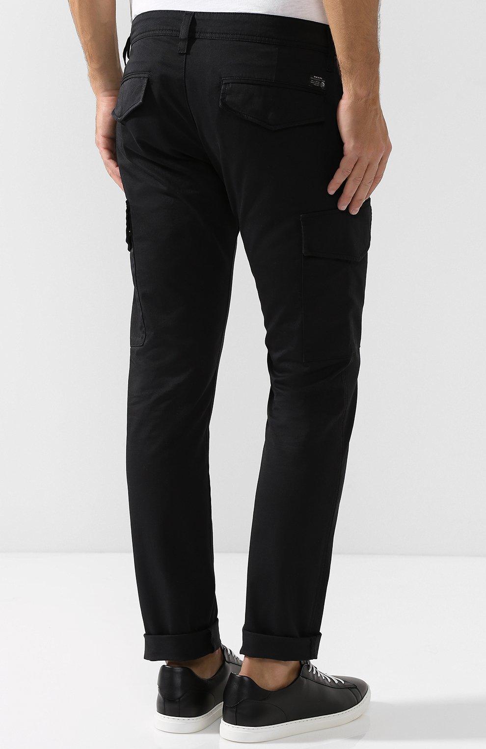 Хлопковые брюки-карго Diesel черные | Фото №4