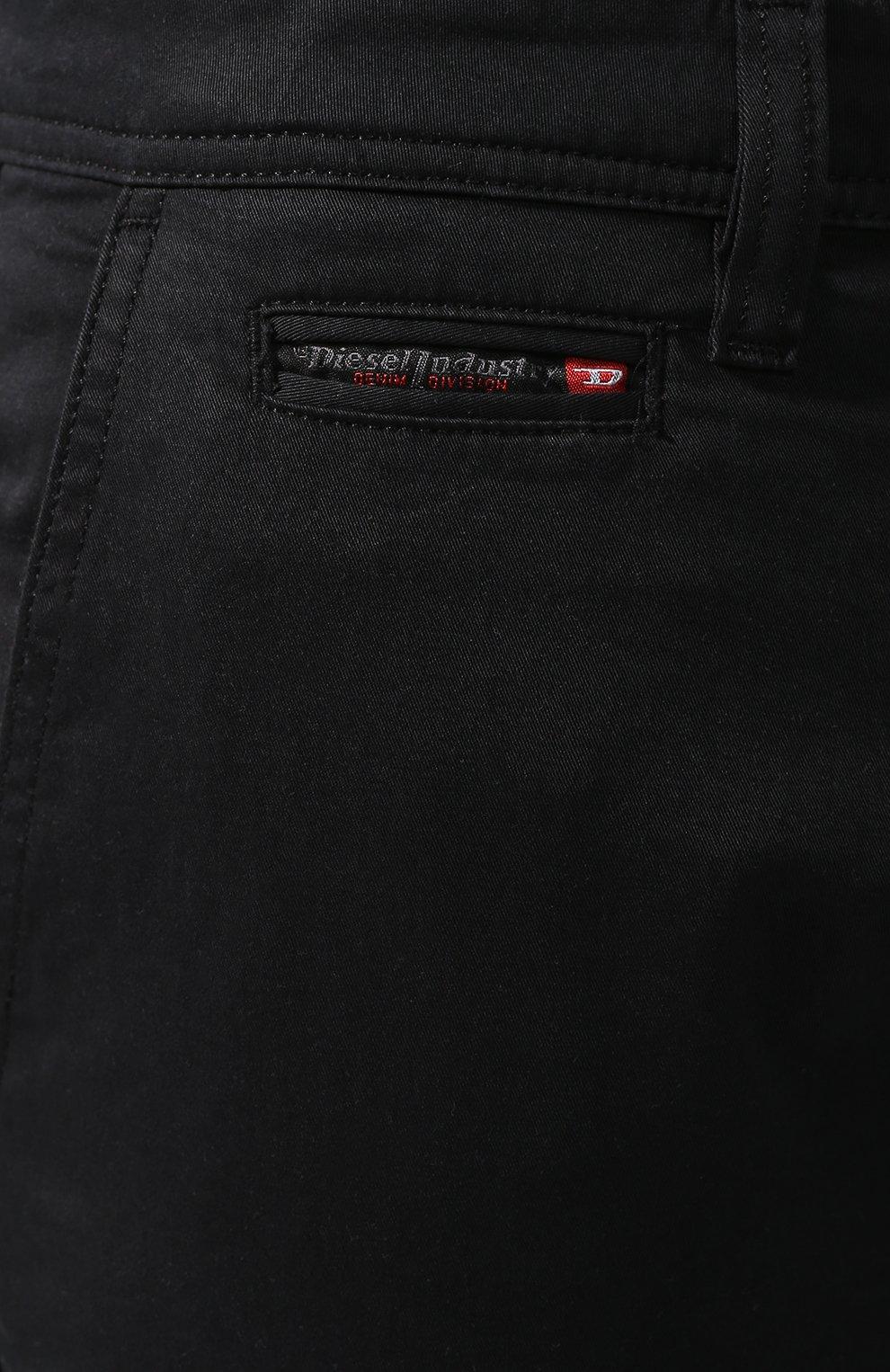 Хлопковые брюки-карго Diesel черные | Фото №5