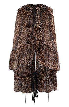 Шерстяная блуза с оборками и леопардовым принтом | Фото №1