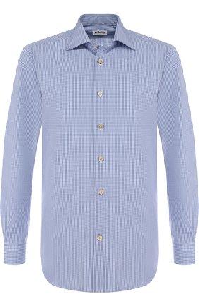 Мужская хлопковая сорочка с воротником кент KITON синего цвета, арт. UCIH0636815005 | Фото 1