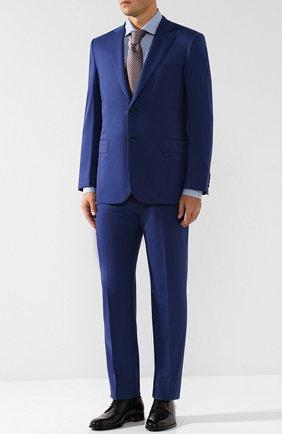 Мужская хлопковая сорочка с воротником кент KITON синего цвета, арт. UCIH0636815005 | Фото 2
