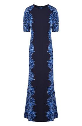 Платье-макси с круглым вырезом и принтом St. John синее | Фото №1