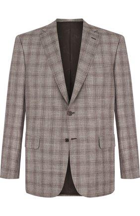 Однобортный шерстяной пиджак из смеси шерсти и шелка с льном | Фото №1