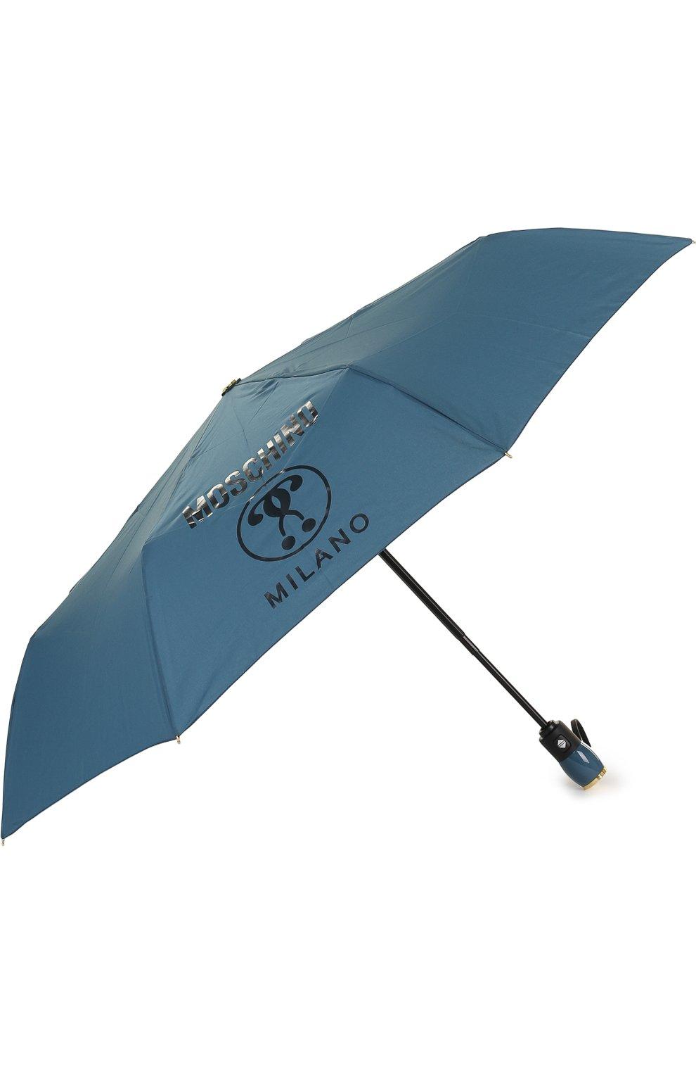 Складной зонт с принтом Moschino синий   Фото №2