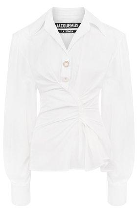 Однотонная хлопковая блуза с драпировкой | Фото №1