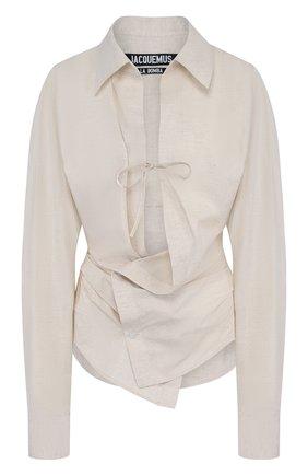 Однотонная приталенная блуза из смеси хлопка и льна | Фото №1