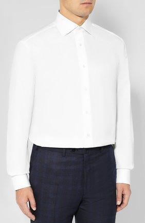 Мужская хлопковая сорочка BRIONI белого цвета, арт. RCLU2R/PZ023   Фото 3