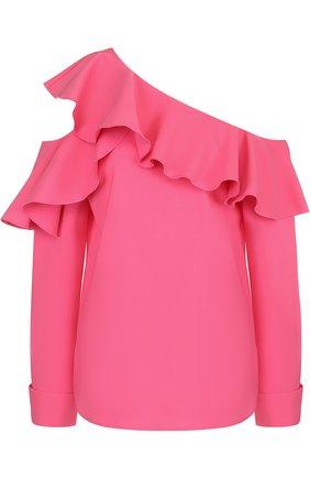 Женская однотонная шелковая блуза с оборками и открытыми плечами Oscar de la Renta, цвет белый, арт. 18PN711SSG в ЦУМ | Фото №1