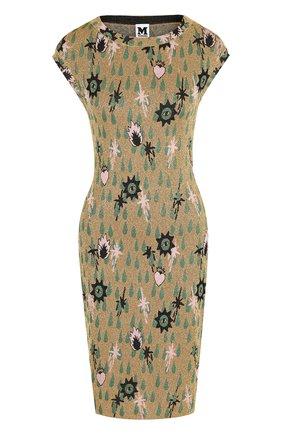 Приталенное мини-платье с круглым вырезом и металлизированной нитью M Missoni золотое | Фото №1
