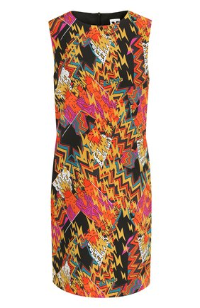 Шелковое мини-платье с круглым вырезом и принтом M Missoni разноцветное | Фото №1