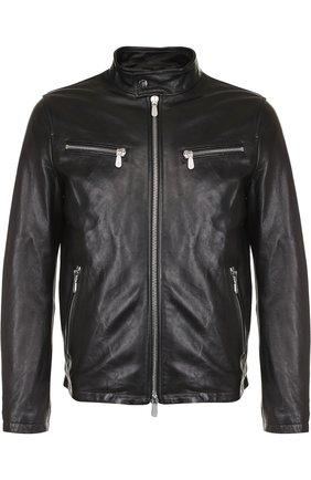 Кожаная куртка на молнии Eleventy Platinum черная | Фото №1