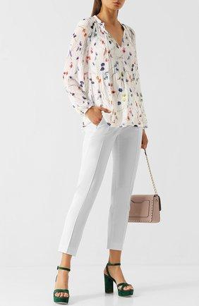 Однотонные укороченные брюки со стрелками Escada белые   Фото №1