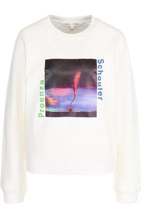 Хлопковый пуловер с круглым вырезом и принтом Proenza Schouler белый | Фото №1
