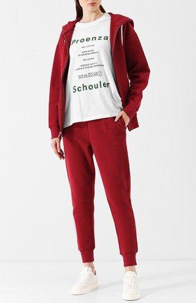 Хлопковая футболка с круглым вырезом и принтом Proenza Schouler синяя | Фото №1