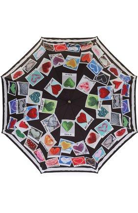 Зонт-трость с принтом Moschino черный | Фото №1