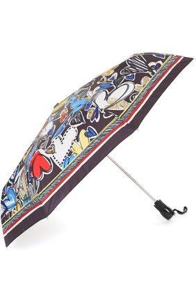 Складной зонт с принтом Moschino светло-голубой | Фото №1