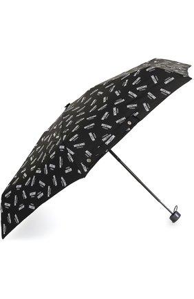 Женский складной зонт с принтом MOSCHINO черного цвета, арт. 8018-SUPERMINI | Фото 2