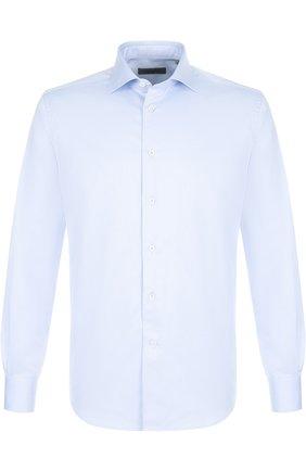 Мужская хлопковая сорочка с воротником кент CORNELIANI синего цвета, арт. 82P100-8811204/00 | Фото 1