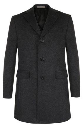 Шерстяное однобортное пальто прямого кроя Corneliani темно-серого цвета | Фото №1