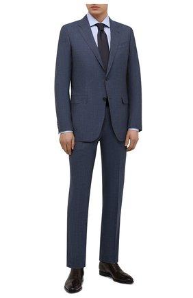 Мужская хлопковая сорочка с воротником кент CORNELIANI синего цвета, арт. 82P100-8811264/00   Фото 2