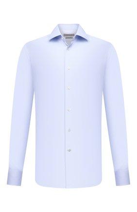 Хлопковая сорочка с воротником кент Corneliani синяя | Фото №1