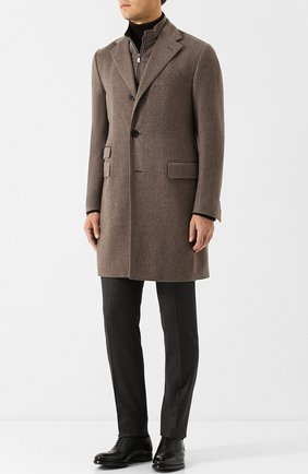 Однобортное кашемировое пальто с подстежкой Corneliani коричневого цвета | Фото №1