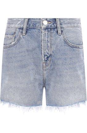 Джинсовые шорты с потертостями и бахромой Current/Elliott голубые   Фото №1
