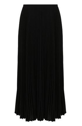 Однотонная плиссированная юбка-миди Escada черная   Фото №1