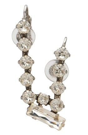 Женские серьга-клипса с отделкой кристаллами SAINT LAURENT серебряного цвета, арт. 517454/Y1526 | Фото 1