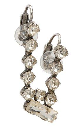 Женские серьга-клипса с отделкой кристаллами SAINT LAURENT серебряного цвета, арт. 517454/Y1526 | Фото 2