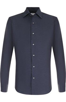 Мужская хлопковая сорочка с воротником кент BRIONI темно-синего цвета, арт. SCAE0L/040Q6 | Фото 1