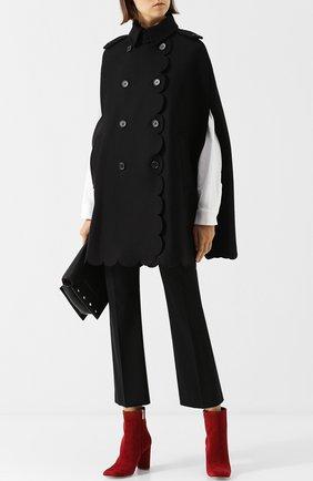 Шерстяное пончо с воротником-стойкой REDVALENTINO черная | Фото №2