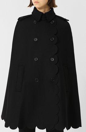 Шерстяное пончо с воротником-стойкой REDVALENTINO черная | Фото №3