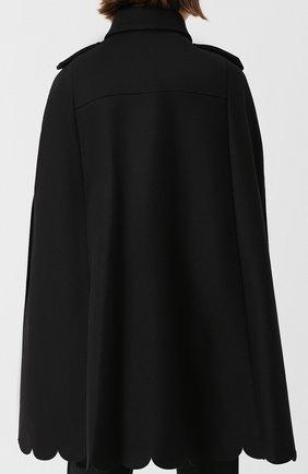 Шерстяное пончо с воротником-стойкой REDVALENTINO черная | Фото №4