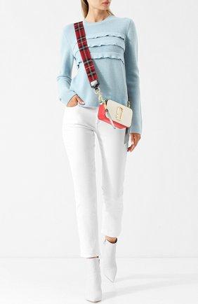Укороченные однотонные джинсы Paige белые   Фото №1