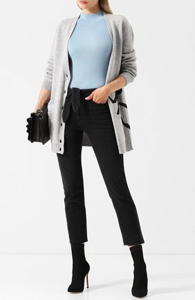 Укороченные джинсы с потертостями Paige серые   Фото №1