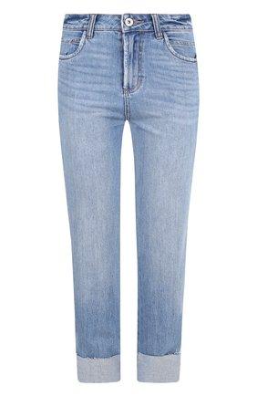 Укороченные джинсы с потертостями Paige голубые   Фото №1
