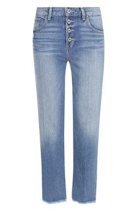 Укороченные джинсы с потертостями и бахромой Paige голубые | Фото №1