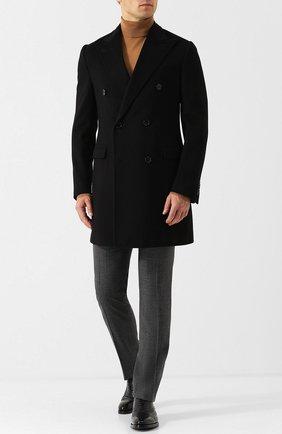 Шерстяные брюки прямого кроя Corneliani коричневые | Фото №1