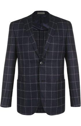 Шерстяной однобортный пиджак на двух пуговицах Corneliani темно-синий | Фото №1