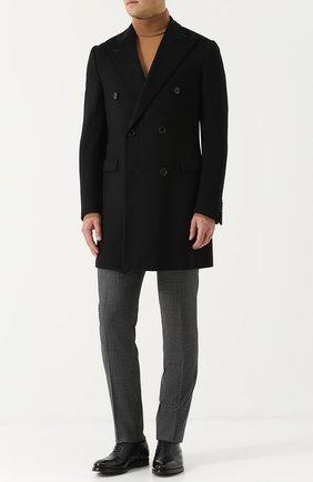 Двубортное шерстяное пальто Corneliani черного цвета | Фото №1
