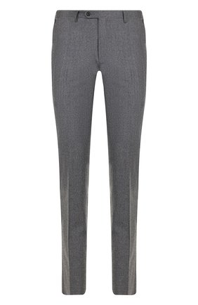 Шерстяные брюки прямого кроя Corneliani светло-серые | Фото №1