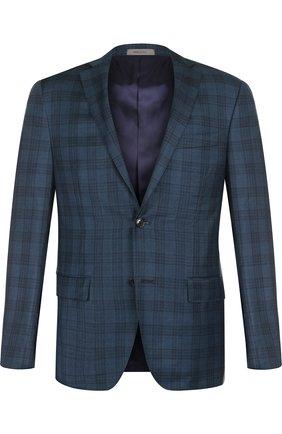 Однобортный шерстяной пиджак Corneliani зеленый | Фото №1