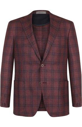 Однобортный пиджак из смеси шелка и кашемира Corneliani бордовый | Фото №1