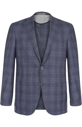 Однобортный шерстяной пиджак Corneliani темно-синий | Фото №1