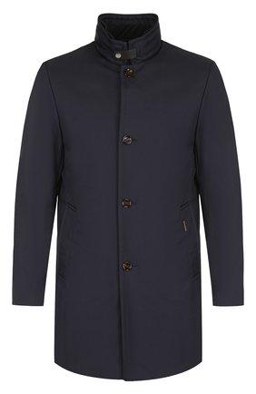 Пуховое пальто на молнии с воротником-стойкой Moorer темно-синего цвета | Фото №1