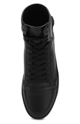Высокие кожаные кеды на шнуровке | Фото №5