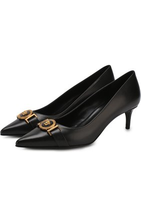 Кожаные туфли Icon на каблуке kitten heel Versace черные | Фото №1